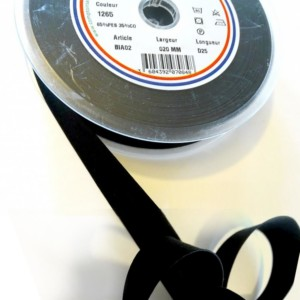 Biais Replié Noir 20 mm