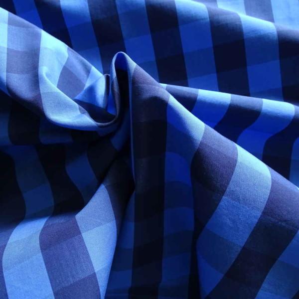 tissu en coton à grands carreaux bleus