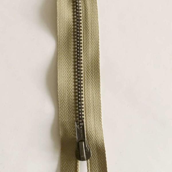 Fermeture Beige Laiton Zip Non Séparable
