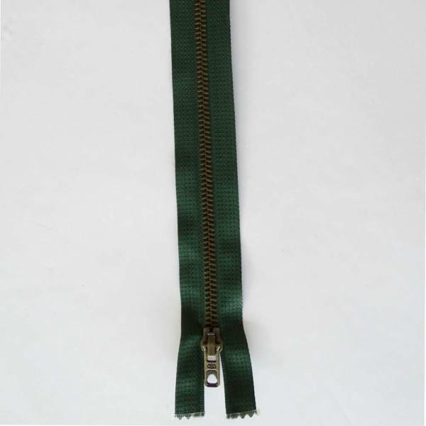 Fermeture Vert Foncé Laiton Zip Séparable