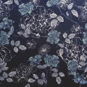 Jersey Bleu Fleurs Tissu Coton
