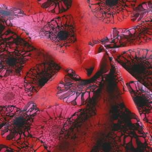 Jersey Rouge Fleurs Bleues
