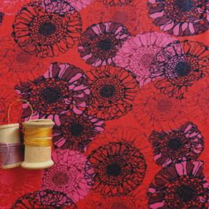 Jersey Tissu Rouge Fleurs Bleues Tournsesol