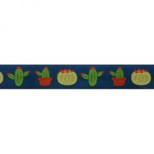 ruban cactus fond bleu 22mm