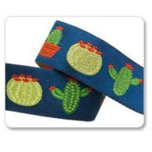 ruban cactus fond bleu 22mm DIY