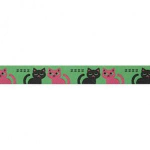 ruban chats endormis fond vert