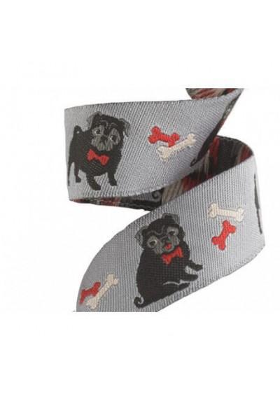 ruban chien fond gris 22mm tendance