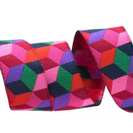 ruban kaffe fassett cubes rouge tendance 16 mm
