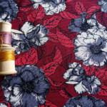 jersey fleurs grises 36 bobines coton