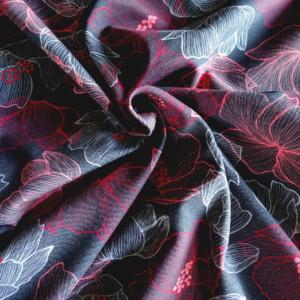 jersey gris fines fleurs coton tissu 36 bobines