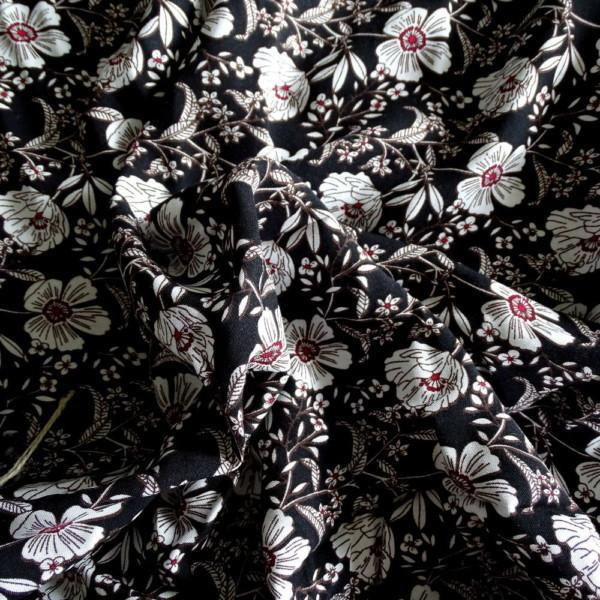 viscose petites fleurs blanches fond noir tissu