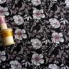 viscose petites fleurs blanches fond noir tissu couture