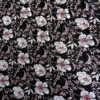 viscose petites fleurs blanches fond noir tissu couture rayonne