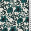 viscose petites fleurs vertes fond blanc