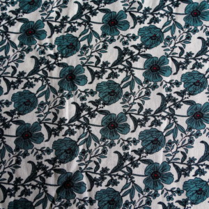 viscose petites fleurs vertes fond blanc tissu couture