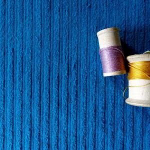 velours cotele bleu turquoise coton