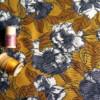 viscose fleurs grises fond moutarde tissu couture rayonne